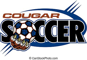 cougar soccer team design with large claw holding ball for...