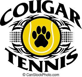 cougar tennis - tribal cougar tennis team design with paw...