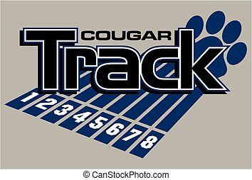 cougar track and field team design with large paw print and...