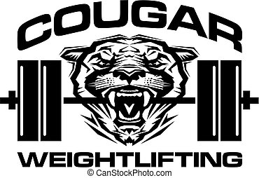 cougar weightlifting team design with mascot and barbell for...