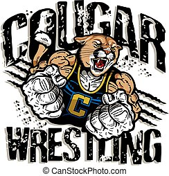 cougar wrestling team design with muscular mascot for school...