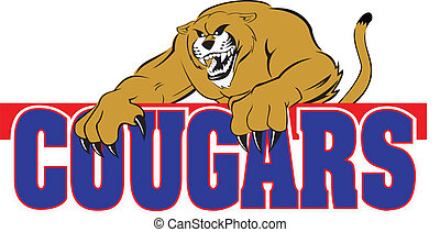A cougar with human like features is climbing over the word %u201Ccougars%u201D in blue with red outline.