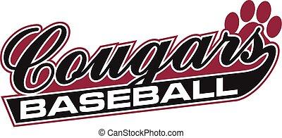 cougars baseball team design in script for school, college...