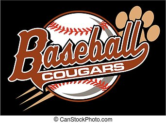 cougars baseball team design in script with paw print for...