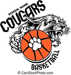 cougars basketball team design with ball and mascot for...