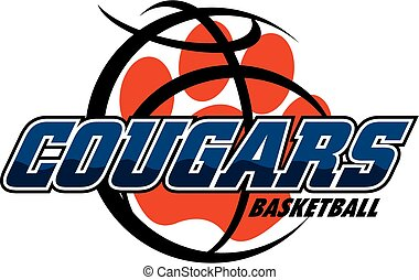 cougars basketball team design with large paw print inside a...