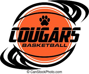 cougars basketball team design with ball and paw print for ...