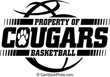 cougars basketball team design with ball for school, college...