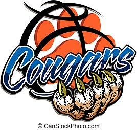 cougars basketball team design with claw and paw print ...