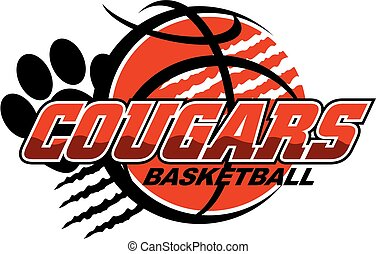 cougars basketball team design with ripped ball and paw...