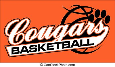 cougars basketball team design with script and tail for...