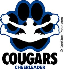 cougars cheerleader team design with girl doing a toe touch inside a large paw print