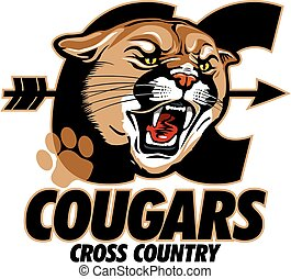 cougars cross country team design with mascot head for...