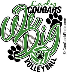 cougars, dame, volleybal
