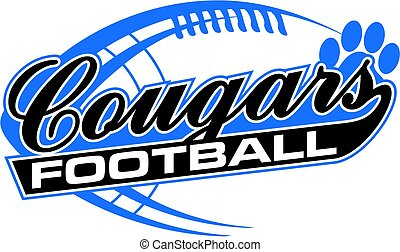cougars football team design in script with paw print for ...