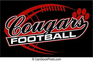 cougars football team design in script with paw print for...