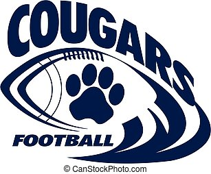 cougars football team design with football laces for school,...