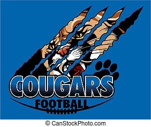 cougars football team design with mascot face inside claw...