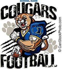 cougars football team design with muscular mascot player for...