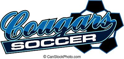 cougars soccer team design in script with tail for school,...