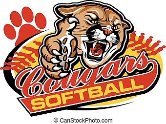 cougars softball team design with mascot for school, college...