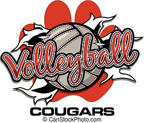 cougars volleyball team design with ball ripping through the...