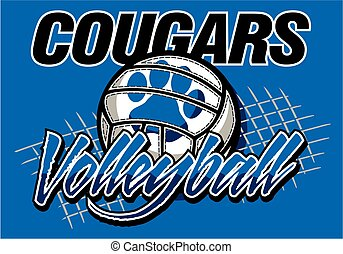 cougars volleyball team design with paw print for school, ...