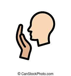 cough  flat color icon