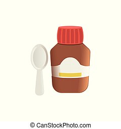 Cough medicine in brown glass bottle and spoon vector Illustration isolated on a white background.