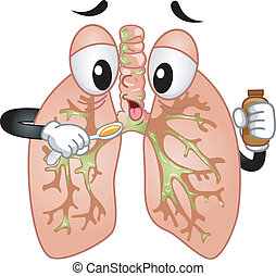 Mascot Illustration Featuring a Pair of Lungs Taking Cough Syrup