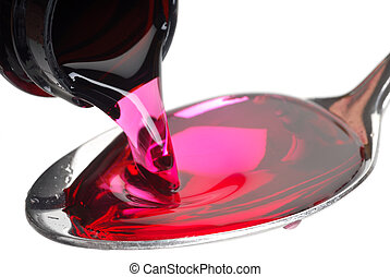 Cough Syrup - A bottle pouring cough syrup into a spoon with...
