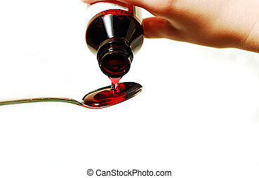 Cough syrup poured into a spoon