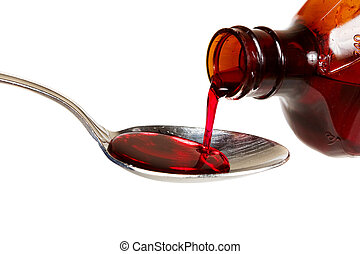 Cough syrup - A bottle of cold medicine poured into a spoon