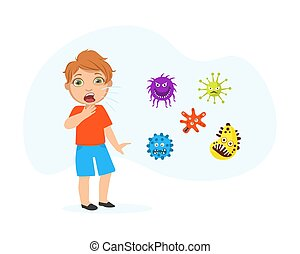 Coughing Boy Spreading Virus and Bacteria, Child Suffering from Flu and Cough Cartoon Vector Illustration