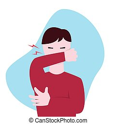 Coughing guy with eyes closed flat vector illustration