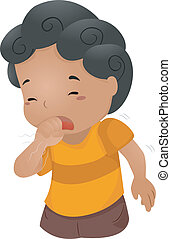 Coughing Kid - Illustration of a Boy Coughing