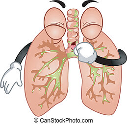 Coughing Lungs Mascot - Mascot Illustration Featuring a Pair...