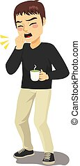 Coughing Man Holding Hot Drink - Young standing man coughing...