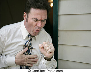 Coughing Man - A man leaving work early because of a...