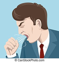 Coughing man vector illustration. Sick person, ill and cold,...