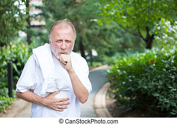 Coughing - Closeup portrait, old gentleman in white shirt...