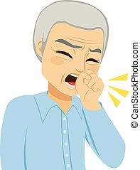 Coughing Senior Man - Illustration of senior man coughing...