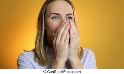 Coughing, Sick Woman Suffering From Cough, on a yellow background