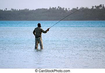 coulage, pour, bonefish, dans, aitutaki, lagune, cuisez ilôt