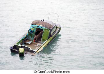 couler, bateau, moitié