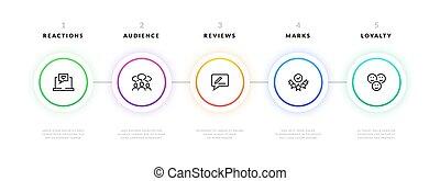 couler, infographic., étape, business, graphique, projet, gabarit, bannière, strategy., vecteur, présentation, information, diagramme, conception, processus, flot travail