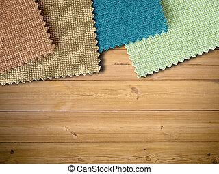 couleur, échantillon, bois, tissu, table