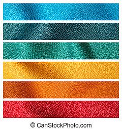 couleur, échantillon, six, tissu, texture
