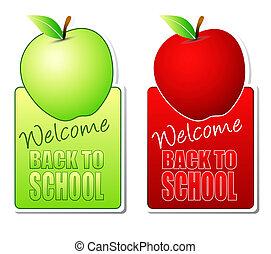 couleur, école, étiquettes, dos, accueil