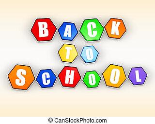 couleur, école, dos, hexagones